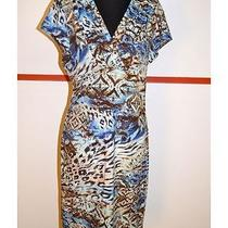 Kay Celine Sz L Multi-Color Faux Wrap Dress W/fun Printing & Cap Sleeves 11256 Photo