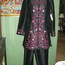 Kay Unger 100% Silk Black Tunic Jacket Blazer Size 16 Pink Embroidery Photo