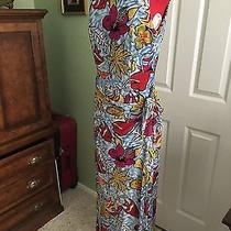 Kay Unger Colorful Silk Sleeveless Wrap Skirt Maxi Dress Tropical Floral Size 8 Photo