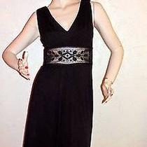 Kay Unger Lined Black Long Knit Short Sleeveless Formal After 5 Dress Size 4 Photo