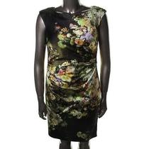 Kay Unger New Green Satin Floral Print Cap Sleeve Wear to Work Dress 10 Bhfo Photo