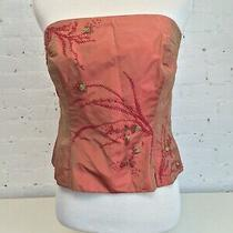 Kay Unger Silk Beaded Strapless Corset Top Pink Shimmer Applique Size 8 Photo