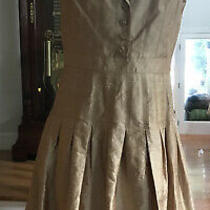 Kay Unger Silk Gold Dress 10 Pleated Skirt 4 Button Gold Filagree Cap Sleeve Photo