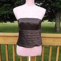 Kay Unger Silk Strapless Ruffle Top Corset Blouse Bustier Sz 6 Chocolate Brown Photo