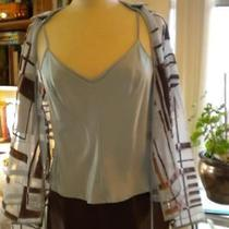 Kay Unger Size 8 3pc Pant Set Silk Blend Taupe & Blue Photo