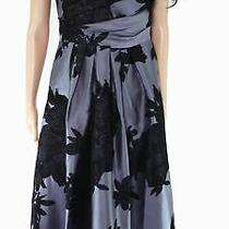Kay Unger Women's Dress Gray Size 14 Maxi One-Shoulder Pleated Floral 268 235 Photo
