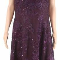 Kay Unger Women's Dress Purple Size 12 a-Line Sequin Floral Embroider 268 024 Photo