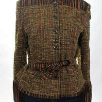 Kay Unger Womens Button Up Blazer Jacket Top Brown Size 8 Photo