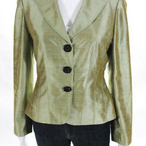 Kay Unger Womens Silk Long Sleeve Three Button Blazer Green Size 4 Photo