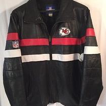 Kc Kansas City Chiefs Black Leather Football Nfl Reebok Jacket Coat Men's Sz Lg Photo