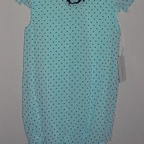 Kc Parker Aqua W/ Navy Polka-Dot Chiffon Dress Nwt Girls 12    Photo