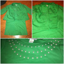 Kc Parker Girl's Green Outfit Set Dress W Pearl & Pea Coat Type Jacket Size 4-5 Photo