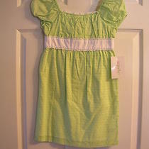 Kc Parker Girls Woven Green & White Dress Size 6 Nwt  Photo