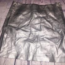 Kc Parker Pewter Faux Leather Mini Skirt Girls Size 12 Photo