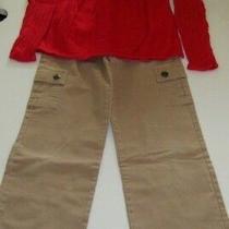 Kc Parker Size 10/12 Red Ls Sweater & Size 10 Khaki Cargo Pants Photo