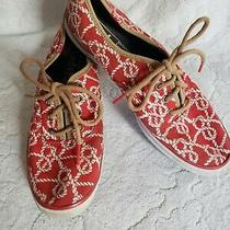 Ked's Red Sneakers White Rope Pattern 7.5 Photo