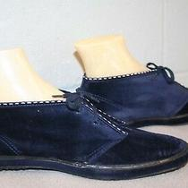 Keds 8 Deadstock Vtg 1970s Navy Blue Chukka Boot Suede Velour  Ankle Bootie Shoe Photo