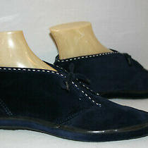 Keds 9 Deadstock Vtg 1970s Navy Blue Chukka Boot Suede Velour  Ankle Bootie Shoe Photo