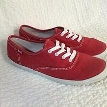Keds Champion Shoes Red Canvas Flats Loafers Casual Sneakers Women Sz 7 Lace Up Photo