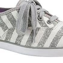 Keds Champion Wf49846 White Grey Washed Stripe Sneaker Women's Size 7.5 Photo