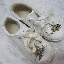 Keds Girl's Kid's White Athletic Walking Sneakers Shoes 2 Silver Charms Size 11 Photo