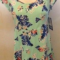 Keds Green Floral Short Sleeve Mini Dress Size L Cotton/spandex Nwt Photo