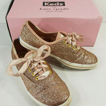 Keds Kate Spade Champion Glitter Rose Gold Sparkly Lace Up Sneakers Girls Size 2 Photo