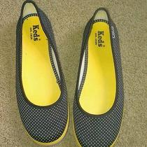 Keds Navy Blue White Yellow Polka Dot Canvas Slip-on Flats Size 8 M Photo