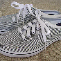 Keds Navy White Pinstripe Canvas Slip on Sport Mule 7.5 Us 38 Eu Arch Support Photo