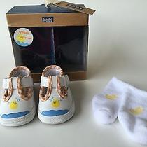 Keds Newborn Shoes T Strap Rubber Duck in Water With Bubbles and Socks Photo