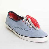 Keds Patriotic Chambray Blue Red Lace Up Flat Sneakers 7m Customer Return Photo