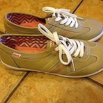 Keds Sport Fashion Sneaker 8 M Tan Canvas Pink Stripe Lace Ups Ln Metallic Photo