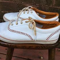 Keds White Leather Championship Womens Size 11 Sneakersred Baseball Stitching Photo