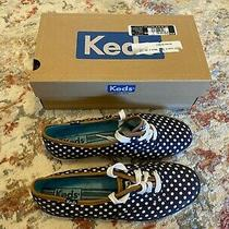 Keds - Women Fashion Sneakers - Navy Blue/white Dot Women's Shoes Lace Up Size 7 Photo