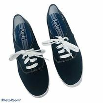 Keds Womens Lace Up Sneakers Size 7.5 Blue Canvas Non-Slip Sole Photo