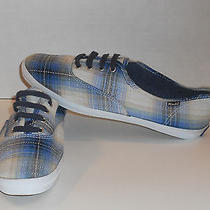 Keds Womens Blue Plaid Tennis Shoes With Blue Laces Size 8.5 Very Nice   Photo
