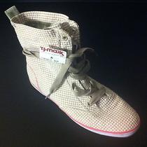 Keds Womens Shoes 8 Beige Tan Cream Gingham Hightop Sneakers Shoes Rare- New Photo