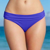 Kenneth Cole 50 New Womens 4501 Blue Solid Hipster Brief Swim Bottom M Photo