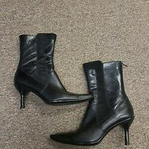 Kenneth Cole Ankle Zip Stiletto Boots Reaction 3.5 Heels Leather Suede Size 8.5 Photo