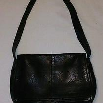 Kenneth Cole Black Leather Purse Fold Over Snap Top Shoulder Bag Photo