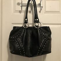 Kenneth Cole Blk Pebbled Leather Hobo Purse With Studs Photo