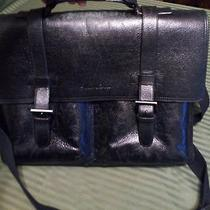 Kenneth Cole Leather -Computer Case Messenger Bag Black Briefcase Photo