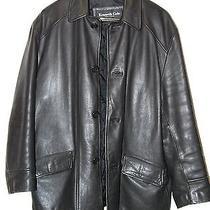 Kenneth Cole Leather Jacket Coat Long  Black Size M Rap Style Photo