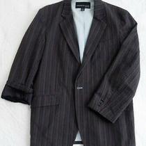 Kenneth Cole Lined Seersucker Striped Cotton Blazer Sz L Gray Navy Burgundy Photo
