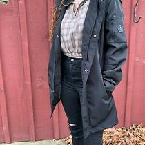 Kenneth Cole Men's Black Long Rain Jacket W/ Hood Sz Small Photo