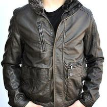 Kenneth Cole Men's Faux Leather Removable Faux Fur Collar Insulated Jacket/coat  Photo