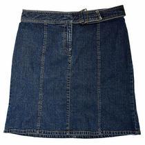 Kenneth Cole New York Women's Blue Denim Jean Mini Skirt Size 8 Built-in Belt Photo