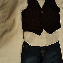 Kenneth Cole Reaction 3pc Boy's Toddler Suit Set Vest Jeans Outfit Euc Photo