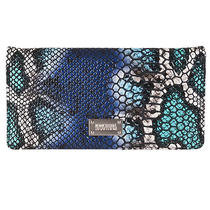 Kenneth Cole 'Reaction' Aqua Faux Python Slim Clutch Photo
