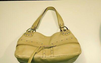 Kenneth Cole Reaction beige gold Leather Studded 2 strap Shoulder Bag Purse Photo